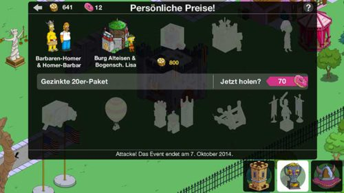 Preise beim Simpsons Springfield Clash of Clones Update