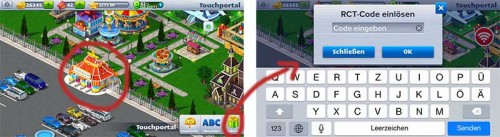 RCT Code in RollerCoaster Tycoon 4 Mobile eingeben
