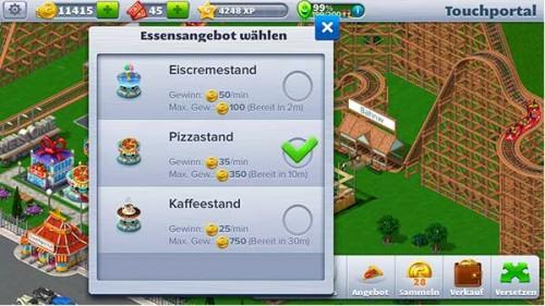 Baut in RollerCoaster Tycoon 4 Mobile  zu Beginn soviele Läden wie möglich (Eisstand / Pizzastand / Kaffeestand), um an viele Münzen zu gelangen