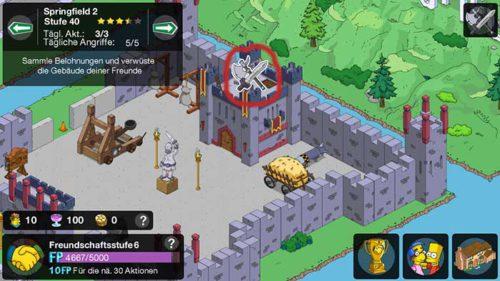 Simpsons Springfield Clash of Clones: Nur wenn das Schwert-Axt-Symbol über einem Gebäude zu sehen ist, kann dieses angegriffen werden