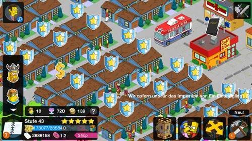 Tippe auf die Schilde, um deine Gebäude während des Simpsons Springfield Clash of Clones Update zu verteidigen
