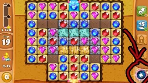 Diamond Digger Saga Die Bombe sogleich aktivieren und Diamanten einer Farbe vom Brett entfernen [Quelle: King.com]