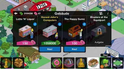 Simpsons Springfield Level 44: Insgesamt gibt es 3 neue Gebäude