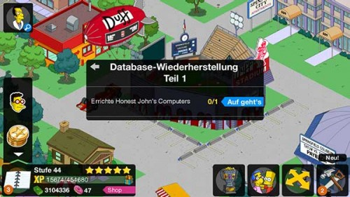 Simpsons Springfield Level 44 Storyline: Database-Wiederherstellung