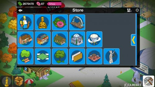 Das neue Baumenü in Simpsons Springfield