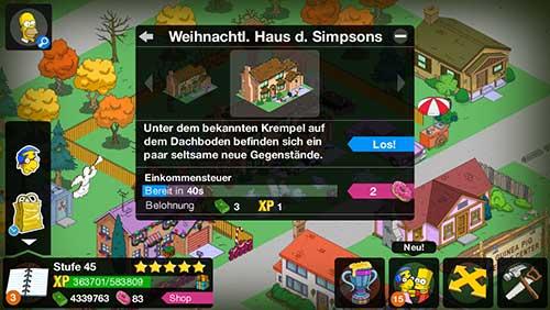 Klicke auf das Haus der Simpsons und dort auf Los, um zum THOHXXV Quiz zu gelangen