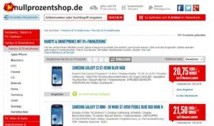 Auf nullprozentshop Smartphones und Tablets mit 0 Prozent Finanzierung kaufen