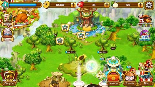Bereits zu Beginn solltest du in Kung Fu Pets Bäume und Steine entfernen