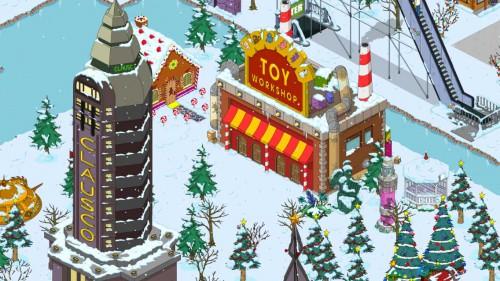 Errichte als erstes die Spielzeugwerkstatt in Simpsons Springfield beim Winter 2014 Update