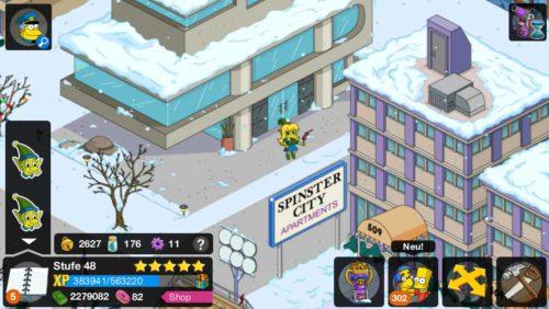 Klicke die Elfen in Simpsons Springfield an, um diese in Flaschen zu verstauen