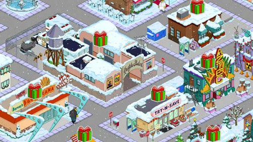 Nur durch Freunde kommst du an genug Geschenke in Simpsons Springfield zu Weihnachten 2014