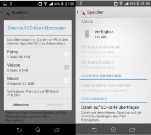 Screenshot Sony Xperia M - App auslagern nicht angeboten