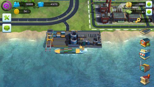 Für den Frachtschiff Anlegeplatz in SimCity BuildIt benötigst du zunächst 20.000 Einwohner und zur Freischaltung 10.000 Simoleons