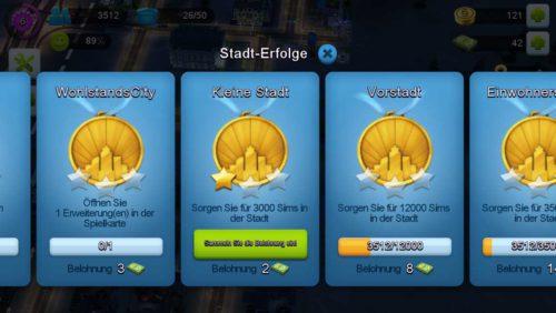 Erhalte Simcash in SimCity BuildIt, indem du die Stadt Erfolge meisterst und einsammelst