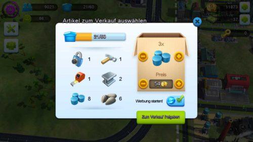 Im Handelsdepot könnt ihr Waren, die ihr besitzt, verkaufen
