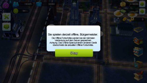 SimCity BuildIt kann auch offline gespielt werden