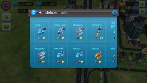 SimCity BuiltIt In der Handelszentrale Waren einkaufen