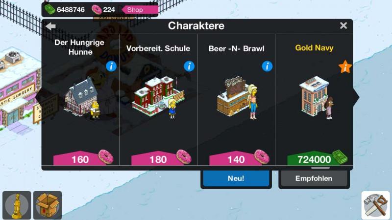 Zwei neue Charaktere gibt es mit dem Simpsons Springfield Level 48 Update