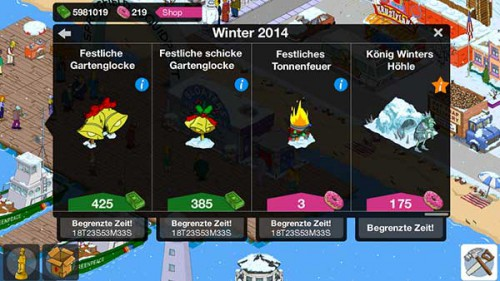 Zahlreiche begrenzte Dekorationen und Figuren im Winter 2014 bei Simpsons Springfield