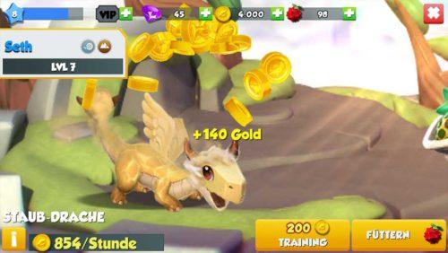 Kassiere alle 2 Stunden zusätzliches Gold, indem du deine Drachen streichelst