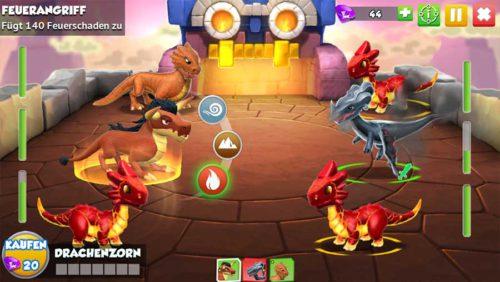 Wenn du einen Angriff (Feuer, Erde usw) anklickst, siehst du bei den gegnerischen Drachen eine Farbe. Damit kannst du mehr Schaden in Dragon Mania Legends erreichen!
