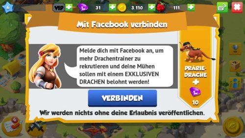 Verbinde Dragon Mania Legends mit Facebook und kassiere neben Edelsteinen auch einen exklusiven Drachen
