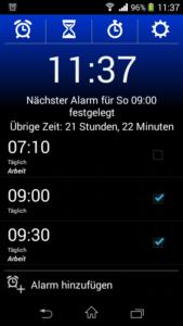 Wecker Xtreme Screenshot Übersicht