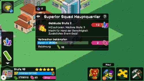 Das Superior Squad Hauptquartier in Simpsons Springfield generiert Stahlbolzen - (c) EA Mobile