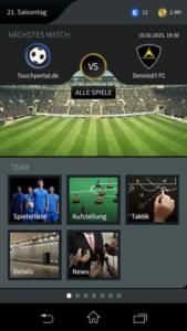 Goal One DFB Fußball Manager - Screenshot Menü