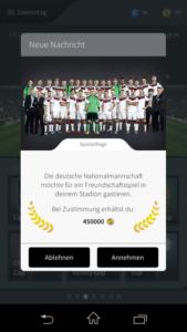 Goal One DFB Fußball Manager - Screenshot Sonderbelohnungen