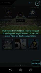 Goal One DFB Fußball Manager - Screenshot Tutorial Belohnung