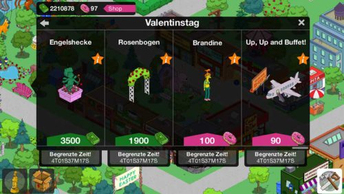 Inhalte durch das Valentinstag 2015 Event in Simpsons Springfield - (c) EA Mobile