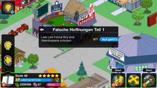 Simpsons Springfield Storyline Falsche Hoffnungen zum Valentinstag - (c) EA Mobile