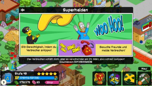 So funktioniert Teil 1 des Superhelden Event von Simpsons Springfield - (c) EA Mobile