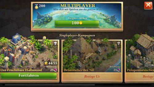 Nach kurzer Zeit kannst du in DomiNations neben der Einzelspielerkampagne im Multiplayer Modus auch andere Spieler angreifen