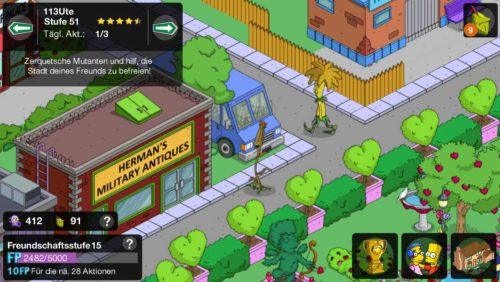 Besuche deine Freunde und Nachbarn in Simpsons Springfield, um Gasmasken zu sammeln und Setzlinge zu platzieren
