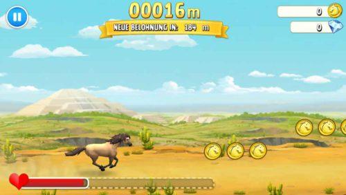 Versuche so viele Münzen wie möglich zu sammeln, in dem du auf dem Bildschirm tippst und so das Pferd so springen lässt