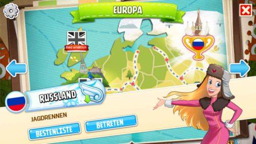 Auf der Weltkarte in Horse Haven kannst du verschiedene Länder und Rennen auswählen