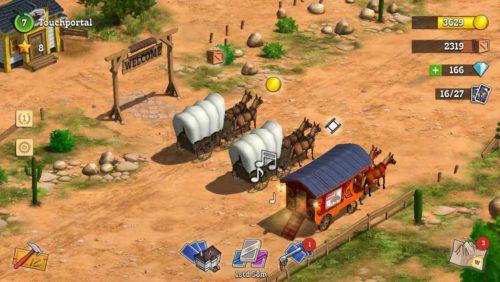 Vor deiner Siedlung schlagen Wagen auf, die dir Ressourcen bringen, wenn du andere Siedlungen befreit hast