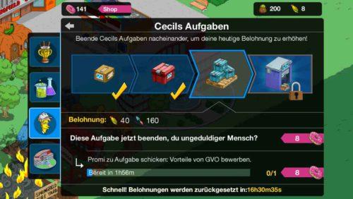 Im Monsarno Research von Simpsons Springfield findest du Cecils Aufgaben, die eine Belohnung in Form von der Eventwährung einbringen