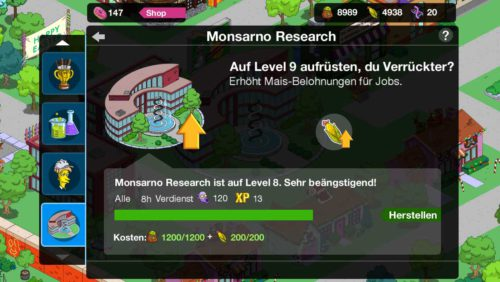 Simpsons Springfield Monsarno Research kann weiter geupgraded werden