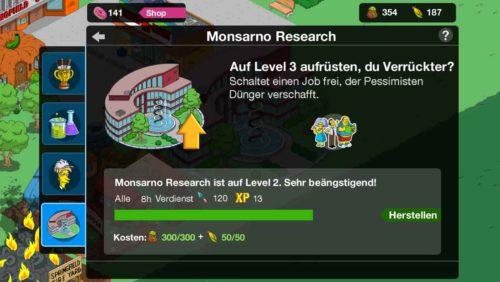 Durch Upgrade des Monsarno Research werden weitere Personengruppen bei Simpsons Springfild freigeschaltet, die die Eventwährung Mais und Dünger abbauen können