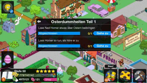 Start der Osterdummheiten Storyline in Simpsons Springfield