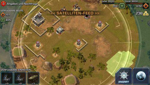 Schritt 1: Analysiere zunächst die feindliche Basis in Empires & Allies und klicke bei Bedarf auf die Verteidigungsanlagen - Bildquelle: Ingame / Zynga
