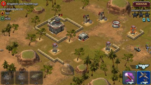 Schritt 2: Verwende deine Kommandopunkte und zerstöre damit Verteidigungsanlagen. Danach platziere deine EInheiten an der richtigen Stelle - Bildquelle: Ingame / Zynga