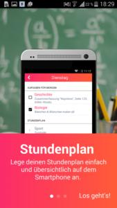 Hausaufgabenheft App: Eine Funktion ist der Stundenplan für das Smartphone - Bildquelle: BMG14