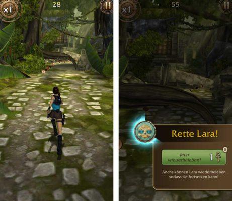 Tipp für Lara Croft Relic Run: Wiederbelebe Lara nur, wenn du fünf Hinweise gesammelt und dem Relikt nahe bist