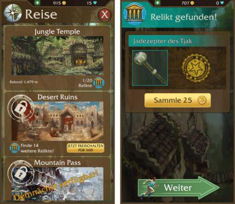 Um weitere Welten in Lara Croft Relic Run freizuschalten, musst du Hinweise und Relikte sammeln