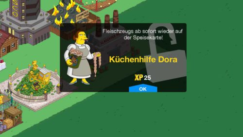 Mit Level 52 hält Küchenhilfe Dora in Die Simpsons Springfield Einzug