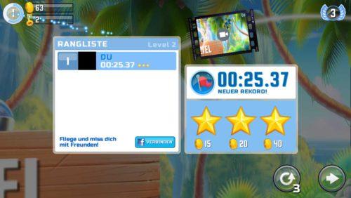 Zielbasierte Level kannst du in Oddwings Escape dreimal wiederholen ohne das dies eine Feder kostet